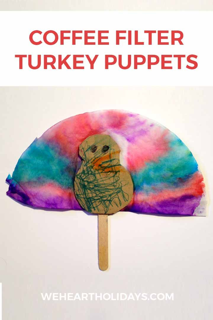 coffee filter turkey puppets