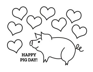 happy pig day coloring page