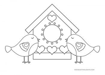 Love Birds Coloring Page for Valentine's Day